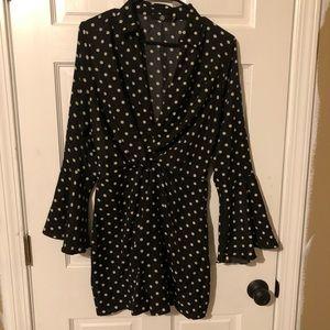 Polka dot B&W twist tie dress from ASOS